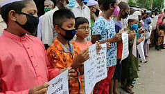 Children of jute mill workers join sit-in protest in Khulna