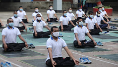 In pictures: Police turn to yoga for immunity boost