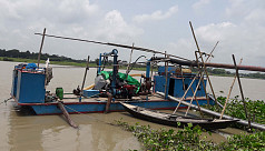 Illegal sand lifting from Arial Khan, Kumar River in Madaripur goes unabated