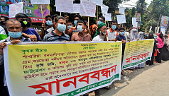 Bogra farmers protest demanding protection of croplands from illegal sand lifting