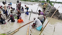 Villages flooded as dam collapses in Khulna