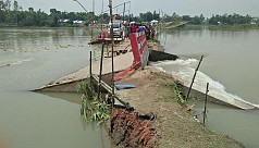Flood ravages croplands, houses in Jamalpur