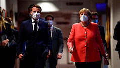 Behind fortress walls, Macron and Merkel...