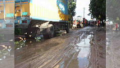 Bhola-Barisal Highway in horrible condition