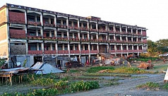 Bhola school building collapsing into...