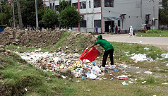 Clinical wastage from SBMCH dumped on open ground of the hospital