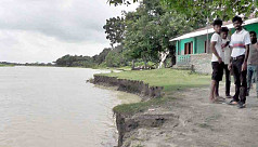 Madhumati River erosion threatens primary school in Narail