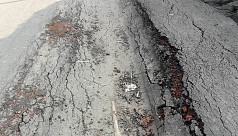 Road damaged months after repair in...