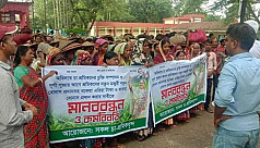 Moulvibazar tea workers observe work abstention demanding pay hike