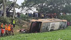 3 killed as bus falls into roadside ditch in Brahmanbaria