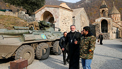 Russian troops guard Armenian monastery after ceasefire