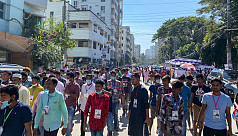 Dhaka 18 by-polls: Uttara High School centre finds huge crowd but few voters inside
