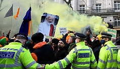 Thousands protest in London against...