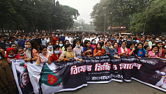 Chhatra League protests vandalization of Bangabandhu sculpture