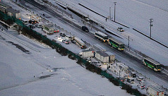 Chaos as snow hits Japanese highway, 134 cars in crashes